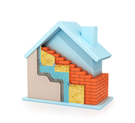 House with insulation of walls Construction of buildings. 3d illustration