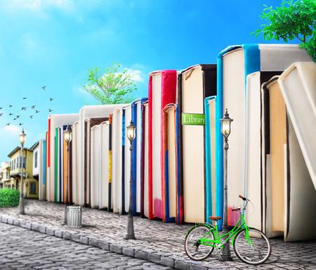 教育コンセプト。キャンパス。通りに建物としての本の積み重ね。本の通り。3D イラストレーション。
