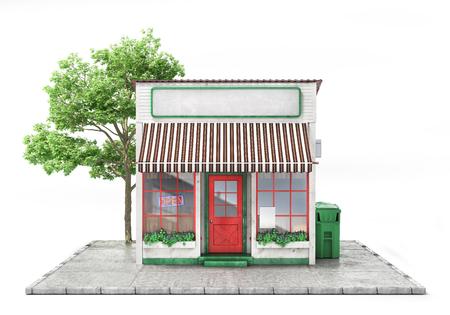 Concepto de negocio. Tienda con letrero vacío aislado en un blanco. Ilustración 3d