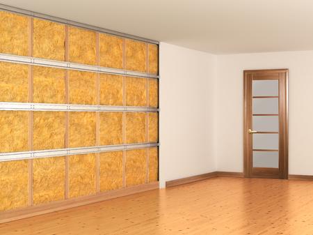 insonorizzazione delle pareti. Illustrazione 3D Archivio Fotografico