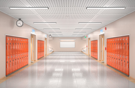 School corridor interior. 3d illustration Stock fotó - 100230194