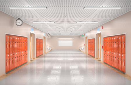 Wnętrze korytarza szkolnego. Ilustracja 3D