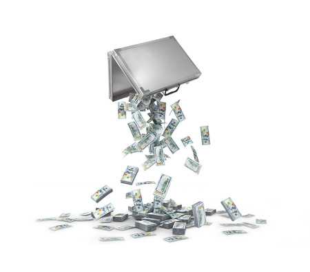money falling out of a suitcase on a pile.3d illustration