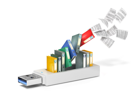 USB flash drive with folders and flying sheets.3d illustration