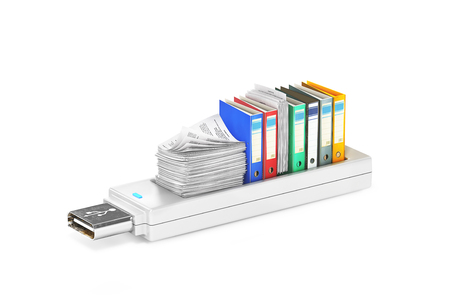 USB stick with folders for paper.3d illustration