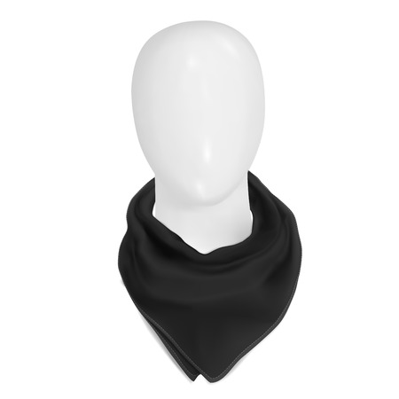 Vector. Mock Up. Black bandana on the neck. On a white mannequin head Vettoriali
