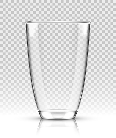 Vector empty realistic drinking glass on transparent background