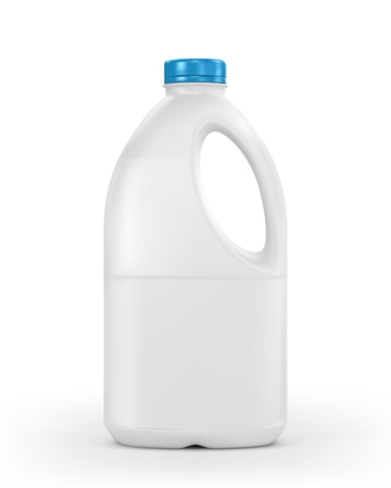 Milk plastic bottle isolated on white