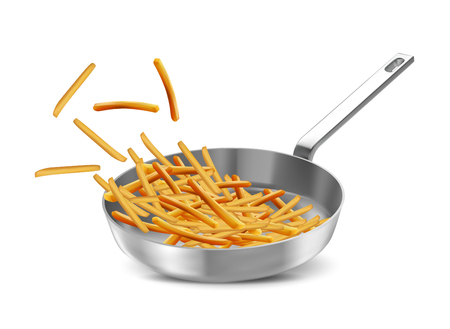 French fries in a frying pan over white background Ilustração