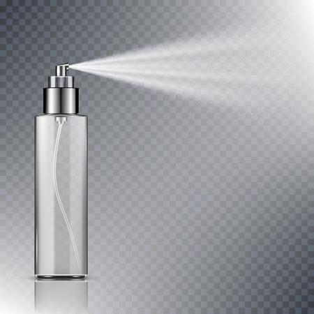Botella de spray, recipiente en blanco con niebla de pulverización aislado sobre fondo transparente Ilustración de vector