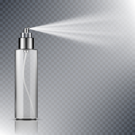 Spray bottle, blank container with spraying mist isolated on transparent background Vettoriali