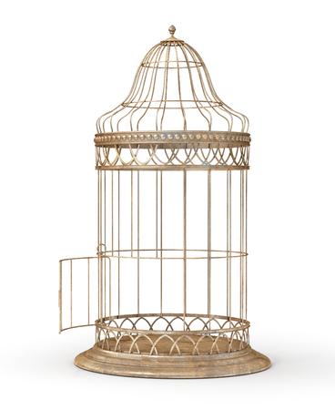 Concept de liberté. Cage ouverte isolée sur un blanc. Illustration 3d Banque d'images