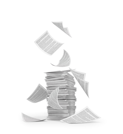 stack of paper, flying paper, isolated on white background. 3d illustration