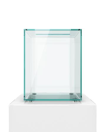 glass transparent ballot box isolated on white background. 3d illustration Stock Photo
