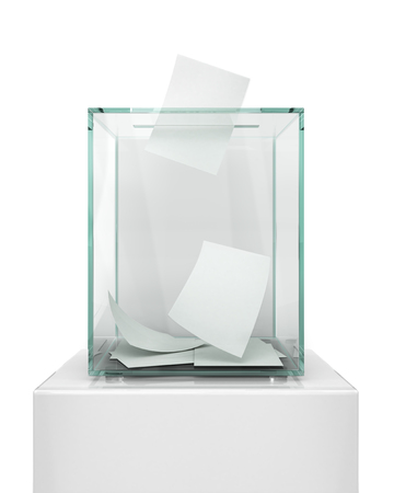 Realistic empty transparent ballot box with voting paper in hole. 3d illustration