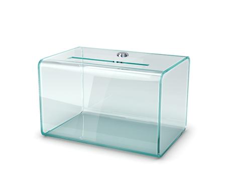 transparent ballot box, isolated on white background. 3d illustration Stok Fotoğraf