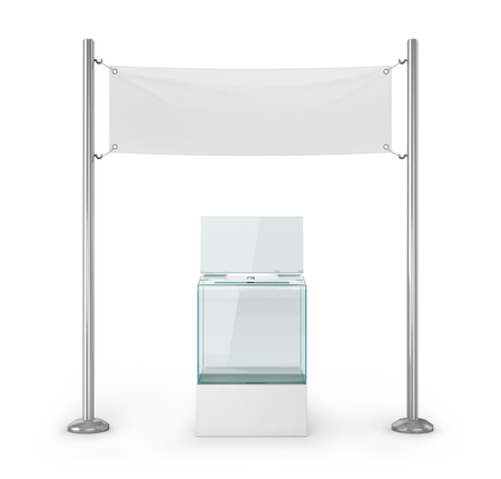 Elections, voting. Glass ballot box and white blank banner for advertising. 3d illustration