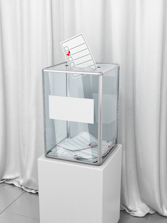 A ballot box with ballots for voting against a background of white fabric. Presidential or parliamentary elections. 3d illustration