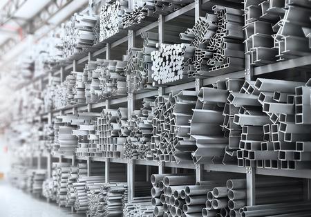 Estantes de diferentes productos metálicos. Perfiles y tubos. Ilustración 3d