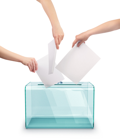 Concept of voting. Hands putting voting paper in the ballot box. 3d illustration.