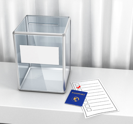 A ballot box, a passport and a newsletter on the table in the voting room. 3d illustration