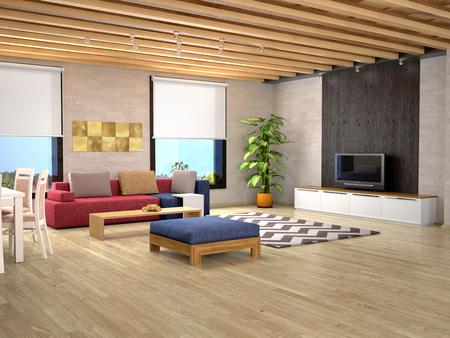 Interior design of a modern room. 3d illustration