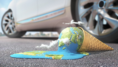 Global warning. Planet as melting ice cream under hot sun. 3d illustration Archivio Fotografico