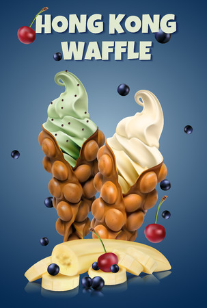 Hong Kong waffles. Waffle with cherry and bananas and whipped cream. Vector illustration with text on background. Ilustração