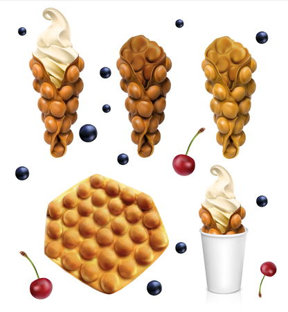 Set of Hong Kong waffles. Vector realistic illustration