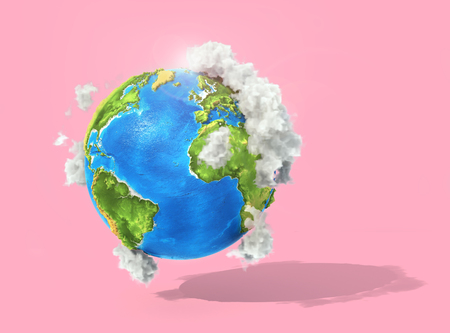 Eco concept. 3d planet with clouds on a pastel background. 3d illustration