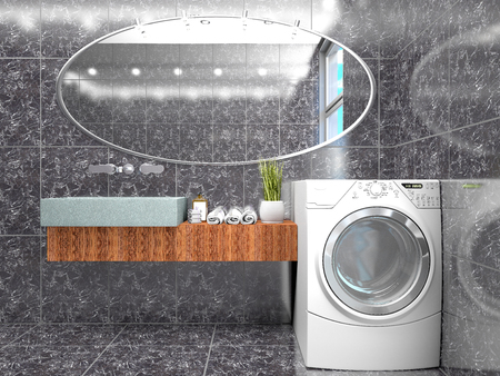 minimalist bathroom with a washing machine. 3d illustration Stock Illustration - 103512457