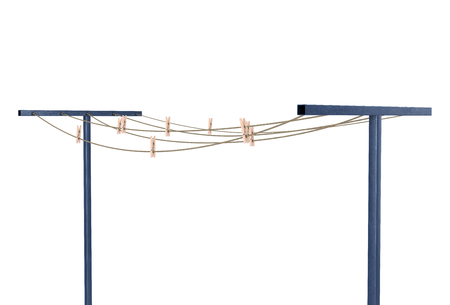 ropes with clothespins on stands isolated 3d illustration Stockfoto