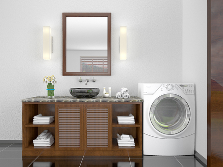 minimalist bathroom with a washing machine. 3d illustration Stock Photo