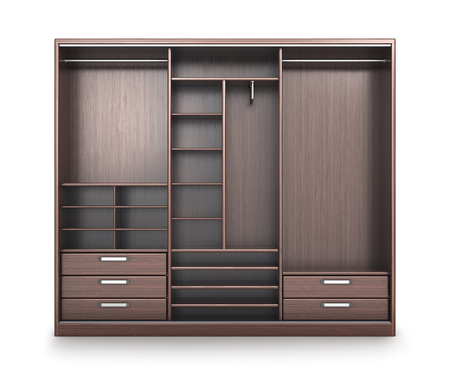 Wardrobe, closet compartment, isolated on a white background. 3d illustration