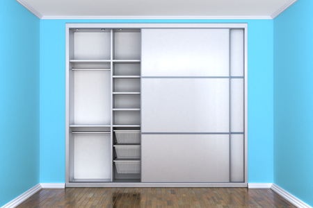 White compartment wardrobe with open doors in a room with blue walls. Wardrobe. 3d illustration Archivio Fotografico - 104467310