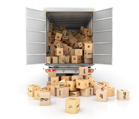 Delivery concept. Cardboard boxes drop out from the transport isolated on a white background. 3d illustration