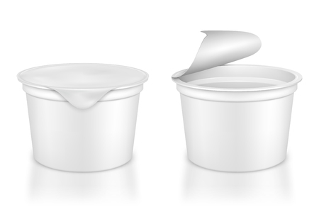 Open and closed packing for yoghurt on a white background