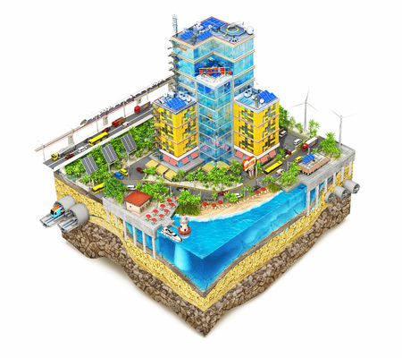 Construction concept. Building square. Process of construction on the sliced patch of earth. 3d illustration
