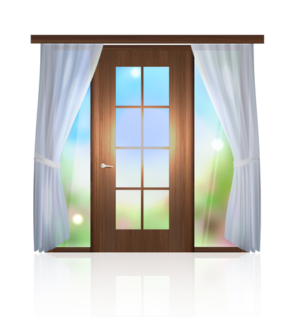 door in the sky. The interior of the room. Vector graphics Banque d'images - 105499492