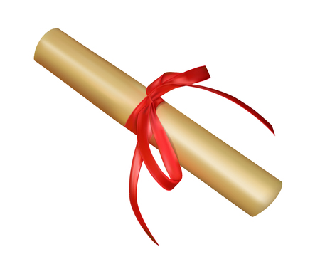 paper scroll tied with red ribbon, isolated on white background Vecteurs