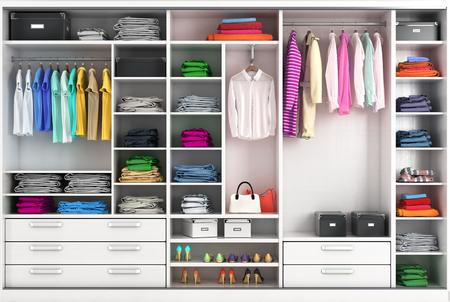 Vestidor en colores vivos. Compartimento de armario. Ilustración 3d