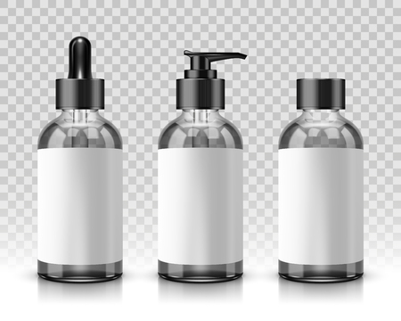 Transparent cosmetic bottles