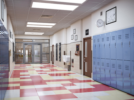 school hallway interior 3d illustration 写真素材