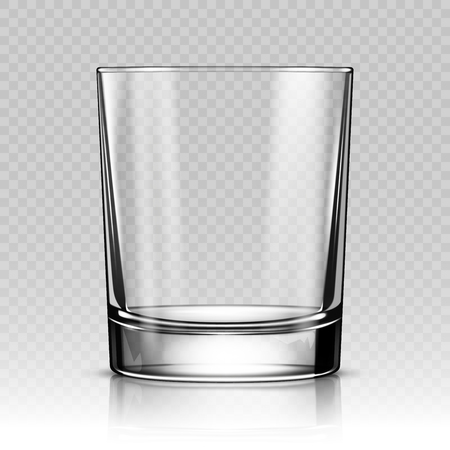 Realistic glass cup isolated on transparent background. Vector illustration