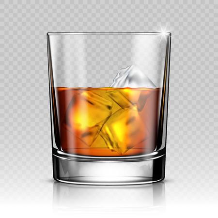 Kieliszek whisky z lodem na przezroczystym tle