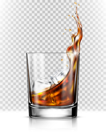 Whiskey splash out of glass isolated on transparent background 스톡 콘텐츠 - 107527028