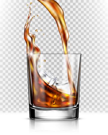 Whisky splash uit glas geïsoleerd op transparante achtergrond Vector Illustratie