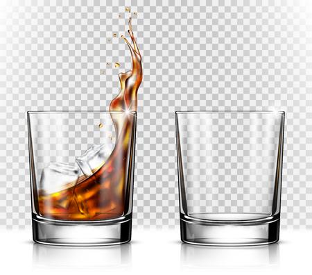 Vaso de whisky vacío y lleno con cubitos de hielo.