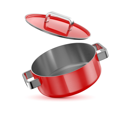 Red saucepan with a lid. Vector illustration