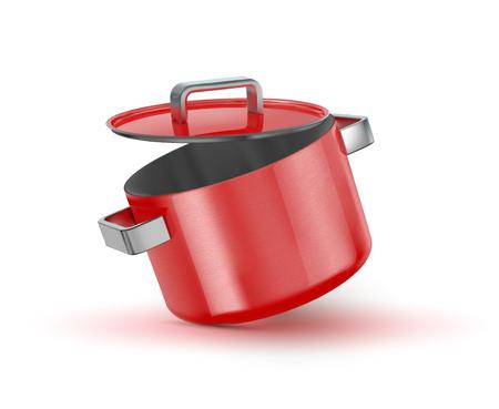 Roter Topf mit Deckel. Vektor-Illustration
